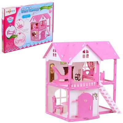 Домик для кукол «Коттедж Светлана», бело-розовый, с мебелью - Фото 1