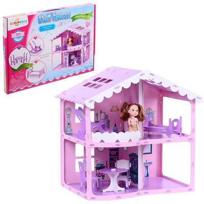 Домик для кукол «Дом Анжелика», розово-сиреневый, с мебелью - Фото 1