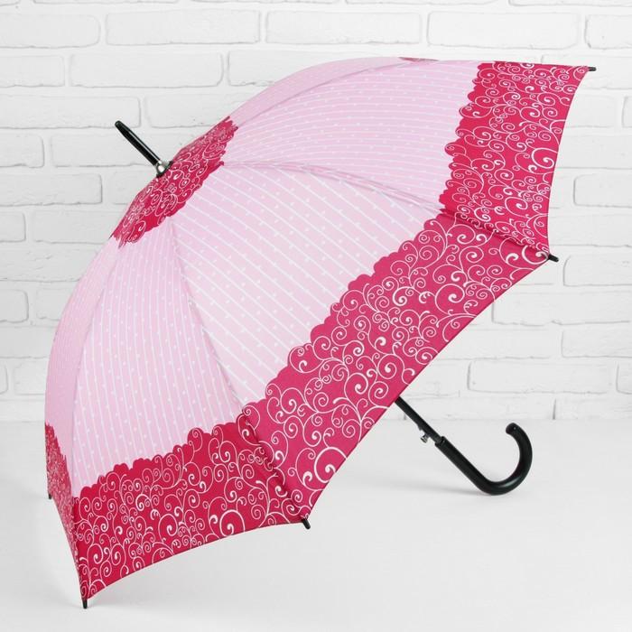 Зонт - трость полуавтоматический «Завитушки», 8 спиц, R = 52 см, цвет розовый