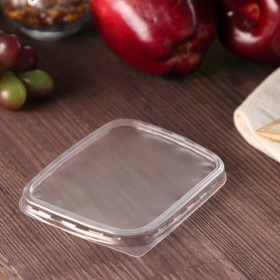 Крышка одноразовая «Юпласт», 10,8×8,2 см, для прямоугольного контейнера, 100 шт/уп. Ош