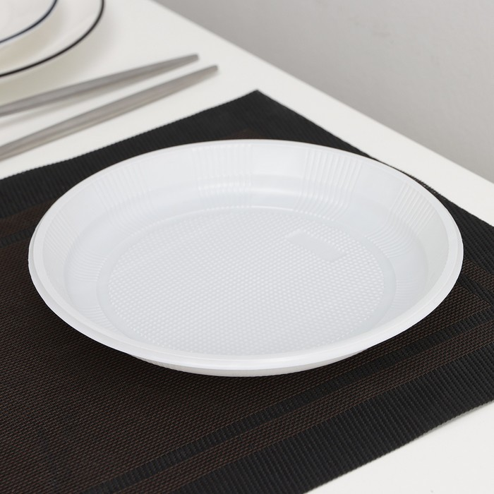 Тарелка «Экстра», d=20,5 см, 50 шт/уп, цвет белый