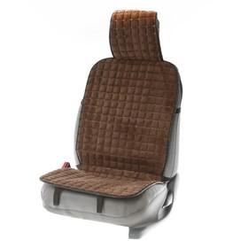 Накидка на переднее сиденье автомобиля 131х48 см, искусственный мех, коричневый