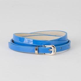 Ремень женский, гладкий лак, пряжка и хомут золото, ширина - 0,8 см, цвет синий Ош