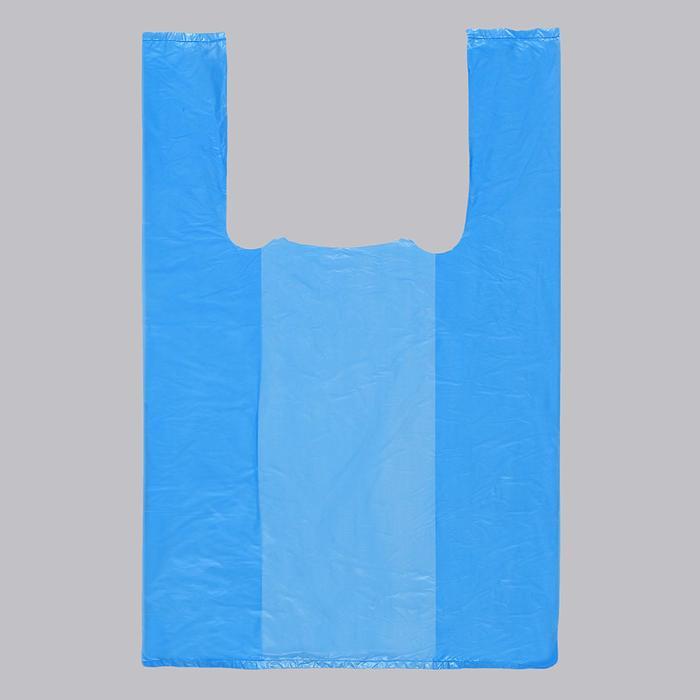 Пакет Синий, полиэтиленовый, майка, 25 х 45 см, 14 мкм