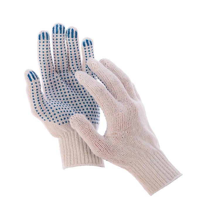 Перчатки, хб, вязка 7 класс, 3 нити, размер 9, с ПВХ точками, белые