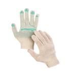 Перчатки, х/б, вязка 7 класс, 6 нитей, размер 9, с ПВХ точками, белые