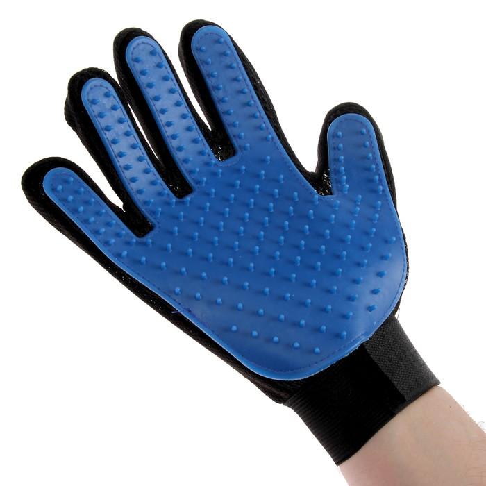 Рукавица-щетка для шерсти на правую руку из неопрена с удлиненными зубчиками
