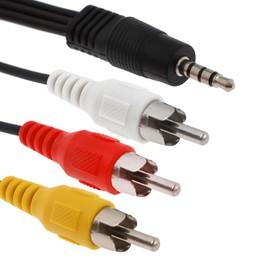 Кабель-переходник аудио/видео LuazON CAB-2, Jack 3.5 (m) - 3xRCA (m), 1.5 м, чёрный Ош