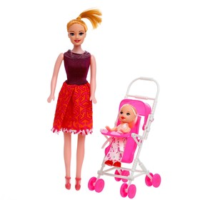 Кукла модель 'Мама с дочкой', с коляской, МИКС Ош