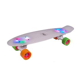 Скейтборд Hudora Skateboard Retro Rainglow, цвет белый с подсветкой Ош
