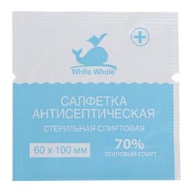 Салфетка антисептическая спиртовая стерильная White Whale 60мм*100 мм
