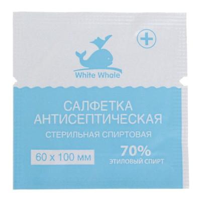 Салфетка антисептическая спиртовая стерильная White Whale 60мм*100 мм - Фото 1