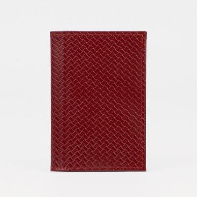 Обложка для паспорта, тиснение, плетёнка, цвет красный