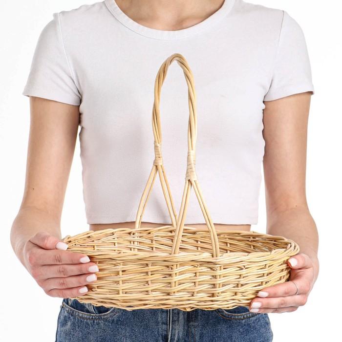 Корзина «Карина», №2, дно:19×28 см, верх:34×28 см, H=8/40 см, ручное плетение, ива