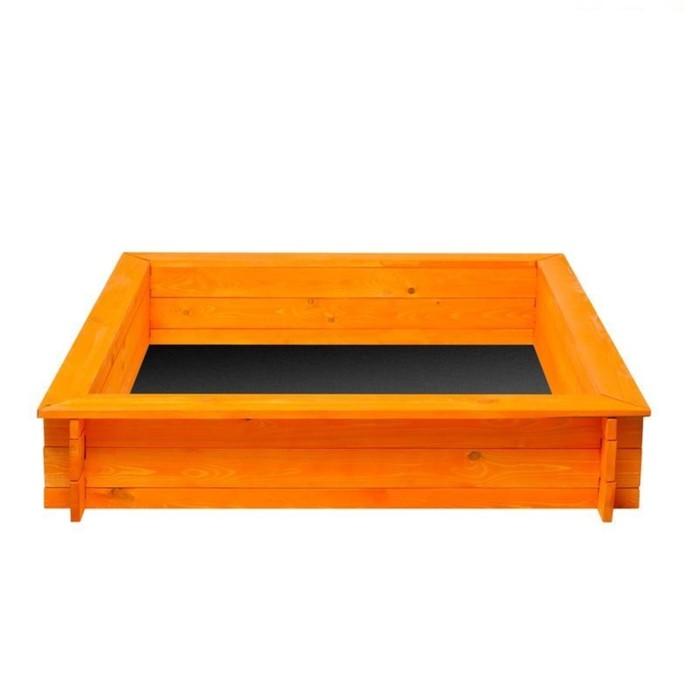 Песочница деревянная «Афина», 110 х 110 х 25 см., 4 лавки, подложка, цвет оранжевый