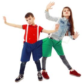 Шорты эстафетные для двоих, три штанины с лямками, цвет микс Ош