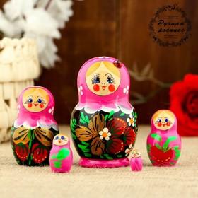 Матрёшка «Божья коровка», розовое платье, 5 кукольная, 10 см