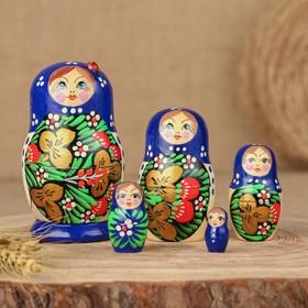 Матрёшка «Божья коровка», голубое платье, 5 кукольная, 9-10 см