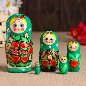 Матрёшка «Божья коровка», зелёное платье, 5 кукольная, 10-12 см