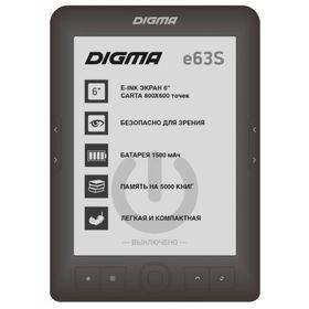 Электронная книга Digma E63S, 6', E-Ink Carta, 800x600, 600 MГц, 4 Гб, темно-серая Ош
