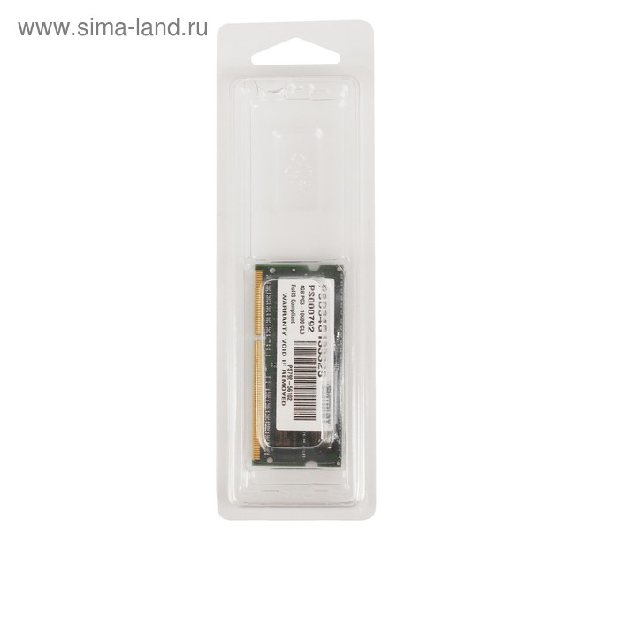 Память DDR3 4Gb 1333MHz Patriot RTL PC3-10600 SO-DIMM 204-pin