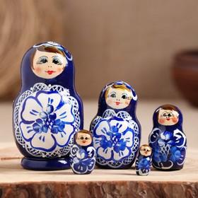 Матрёшка «Гжель», синее платье, 5 кукольная, 9,5-11 см