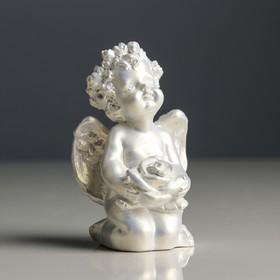 """Статуэтка """"Ангел с розой"""", цвет перламутровый, 9 см"""