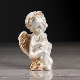 """Статуэтка """"Ангел с барашком"""", цвет перламутровый, декор золотистый, 8 см"""
