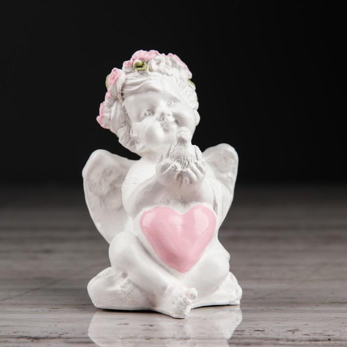 купить Статуэтка Ангел с голубем, с розовым сердцем, 8 см