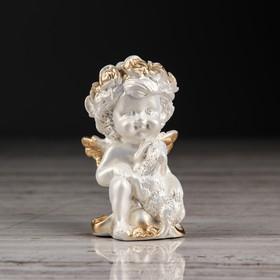 """Статуэтка """"Ангел с барашком"""", цвет перламутровый, золотистый декор, 8 см"""