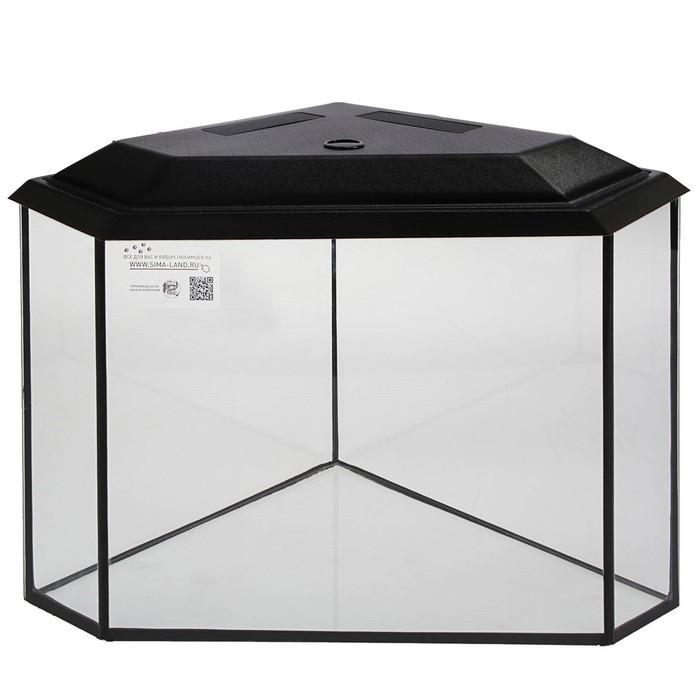 Аквариум дельта угловой с крышкой, 100 литров, 55 х 55 х 39,5/45,5 см, чёрный
