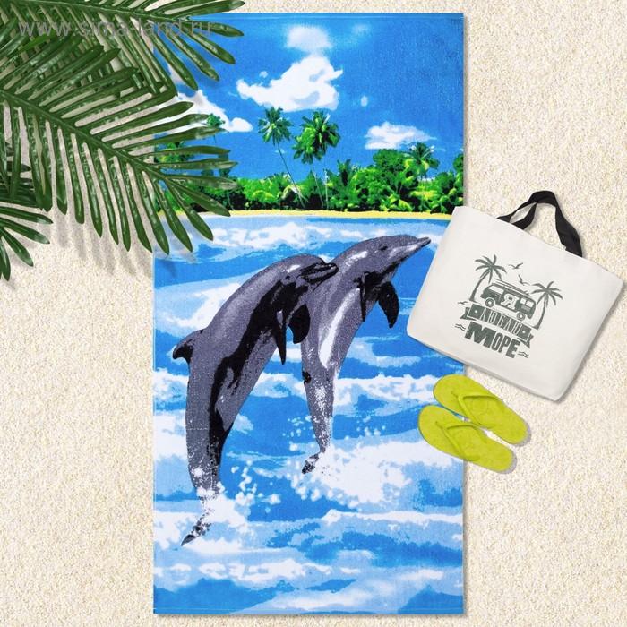 """Полотенце махровое велюр """"Дельфины"""" 70х140 см,320 г/м2,хлопок 100%"""
