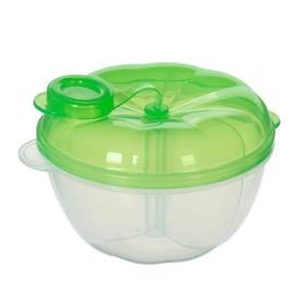 Контейнер пищевой для хранения детского питания, дозатор 3 секции, от 0 мес., цвет зелёный