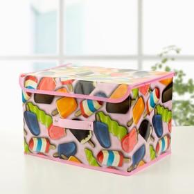 Короб для хранения с крышкой «Эскимо», 38×25×23 см, цвет розовый Ош