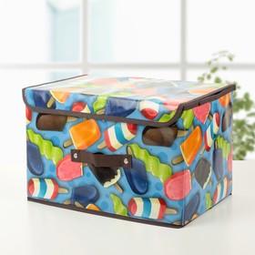 Короб для хранения с крышкой «Эскимо», 38×23×24 см, цвет синий Ош