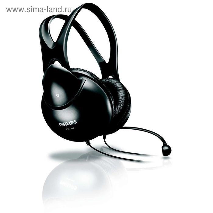Наушники с микрофоном Philips SHM1900/00, 20-20000 Гц, 3.5, 100 дБ, провод 2 м, черные