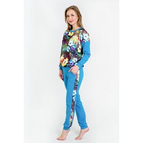 Комплект женский (свитшот, брюки), цвет бирюзовый, размер 44 Ош