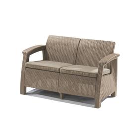 Диван Corfu Love Seat, 2-местный, 130 × 70 × 80 см, искусственный ротанг, цвет капучино Ош