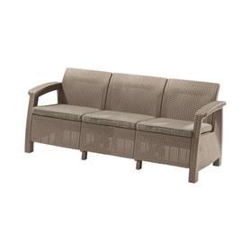 Диван Corfu Love Seat Max, 3-местный, 180 ×70 × 80 см, искусственный ротанг, цвет капучино Ош