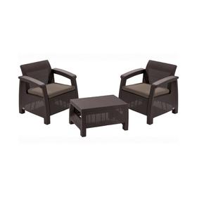 Набор мебели Corfu weekend, 3 предмета: стол, 2 кресла, искусственный ротанг, коричневый