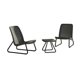 Набор мебели Rio Patio, 3 предмета: стол, 2 кресла, искусственный ротанг, цвет графит