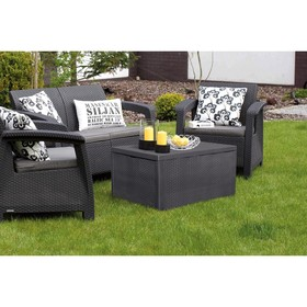 Набор мебели Corfu Box Set, 4 предмета: стол, диван, 2 кресла, искусственный ротанг, цвет графит