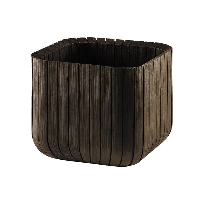 Кашпо Wood Planter M, 30 × 30 × 30 см, коричневое