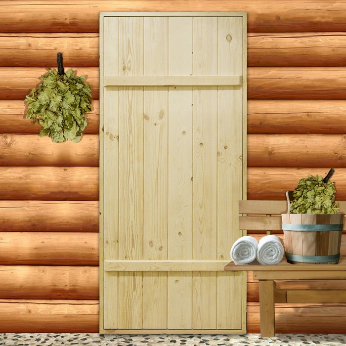 """Дверной блок для бани, 170×80см, из сосны, на клиньях, массив, """"Добропаровъ"""""""