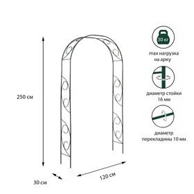 Арка садовая, разборная, 250 × 120 × 30 см, металл, зелёная, «Узор-1» Ош