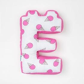 Мягкая буква подушка 'Е' 35х25 см, розовый, 100% хлопок, холлофайбер Ош