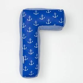 Мягкая буква подушка 'Г' 35х21 см, синий, 100% хлопок, холлофайбер Ош