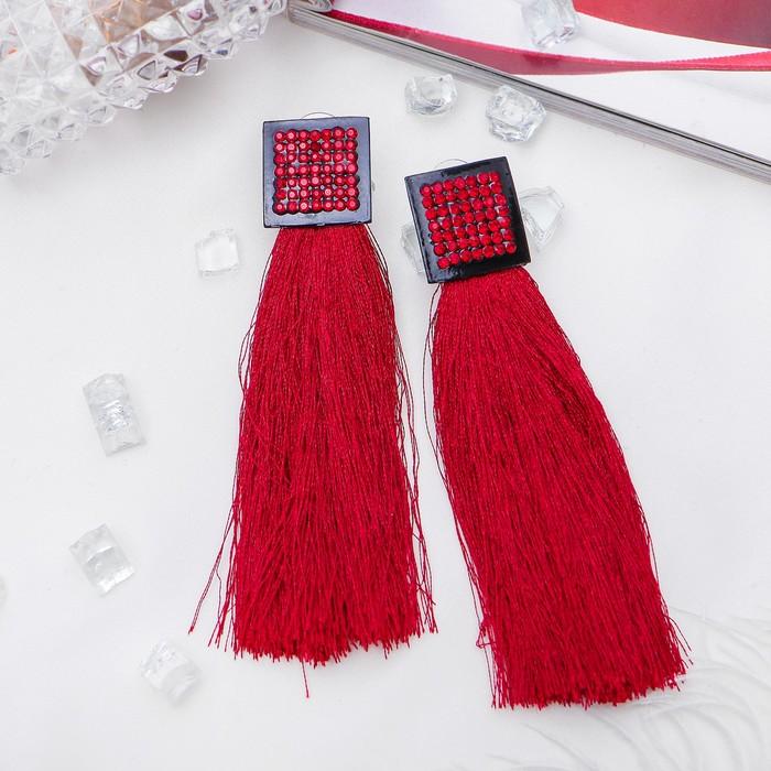 Серьги Кисти изыск, объёмные, цвет тёмно-красный в чёрном металле