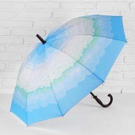 Зонт - трость полуавтоматический «Горы», 10 спиц, R = 49 см. цвет голубой Ош