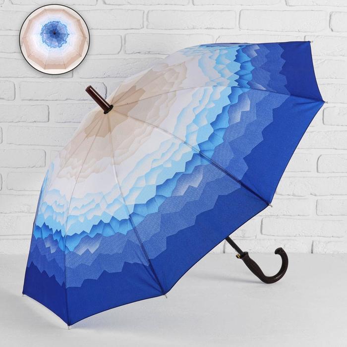 Зонт - трость полуавтоматический «Горы», 10 спиц, R = 49 см, цвет бежевый/синий МИКС